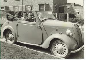 In my Standard 8. Derek in the front passenger seat; Mum behind him with Olive, one of her many sisters.